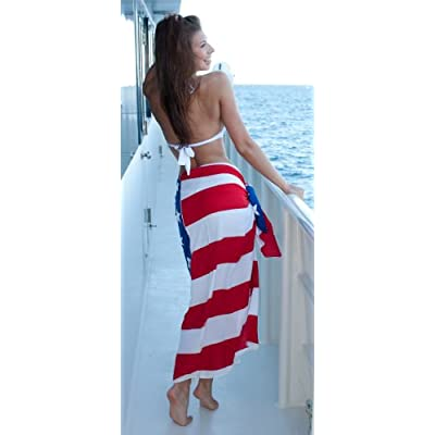 .com: 1 World Sarongs Womens American Flag Swimsuit Cover-Up Sarong