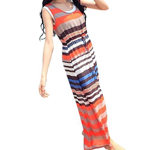 Sexy Women Ladies Sleeveless Chiffon Print Two-Piece Long Dress Size M