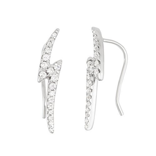 Sterling Silver CZ Lightning Bolt Ear Climber Crawler Earrings by Beaux Bijoux