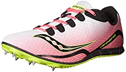 Saucony Women\'s Vendetta Spike Shoe, White/Pink, 7 M US
