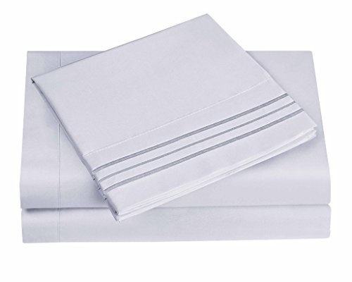 1800 Series Egyptian Collection 3 Line Microfiber 4 Piece Bed Sheet Set (King, Ice Blue) Botanical 2 Light Bath