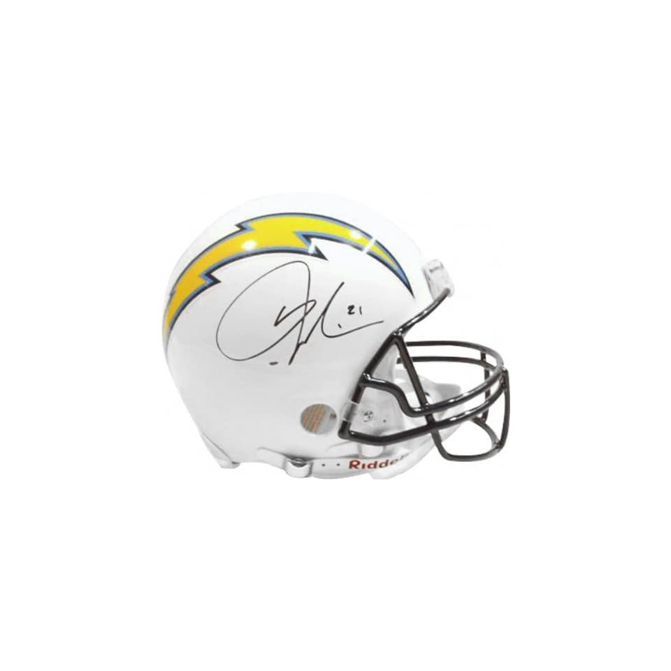 Ladainian Tomlinson Autographed Pro Line Helmet  Details San Diego Chargers, White, Authentic Riddell Helmet