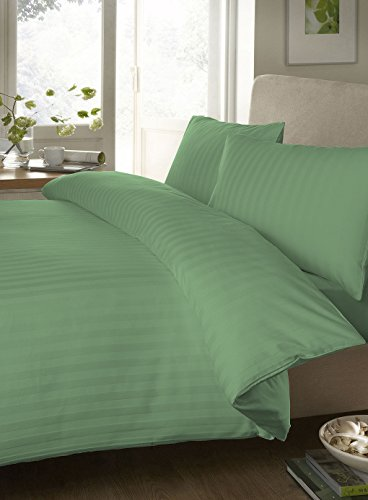 """Egyptian Cotton Fitted Sheet With 28"""" Deep Pocket 450 Thread Count Stripe ( Queen , Sage ) By Bedding Spa front-622610"""