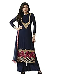 Blue Georgette Embroidered Party Wear Dress Material