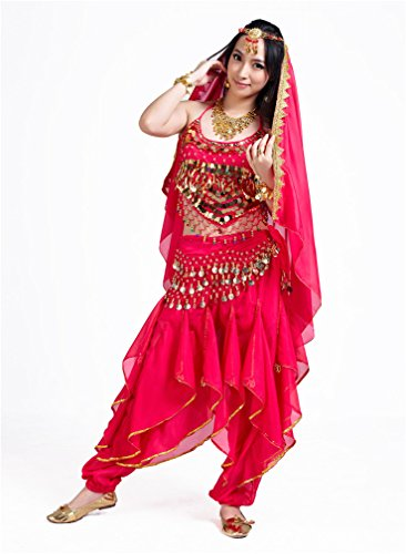 Dreamspell Belly Dance 3PSC Professional Rose Red Costume top/pants/waist chain