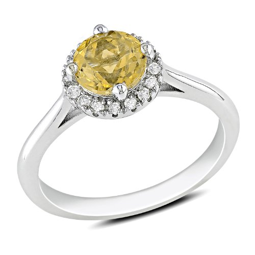 Sterling Silver 3/4 CT TGW Citrine 1/10 CT TDW Diamond Fashion Ring (G-H, I3)