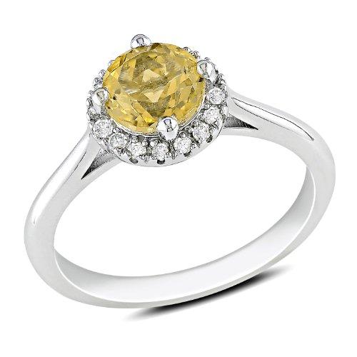 Sterling Silver 3/4 CT TGW Citrine 1/10 CT TDW Diamond Fashion Ring (G-H, I3)