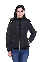 Trufit Full Sleeves Solid Women's Black Quilted Removable Hood Golden Zip Polyester Bomber Jacket