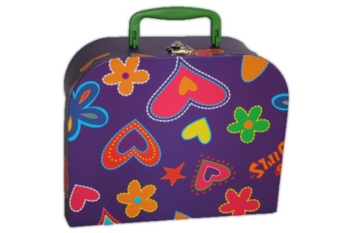 Kinderkoffer 28 cm Groß Herz lila violett bunt