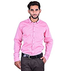 CORTOS Pink Cotton Matt Other Regular fit formal Solid Shirt (Size: Medium)