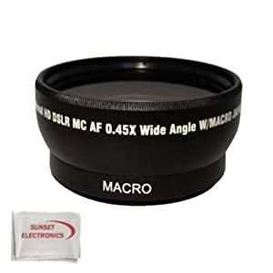 Extra large Wide Angle Lens With Macro lens For The Sony DCR-SR68, DCR-SR88, HDR-CX110, HDR-CX150, HDR-CX300, HDR-CX350, HDR-CX500V, HDR-CX550V, HDR-XR100, HDR-XR150, HDR-XR350V, HDR-XR550V