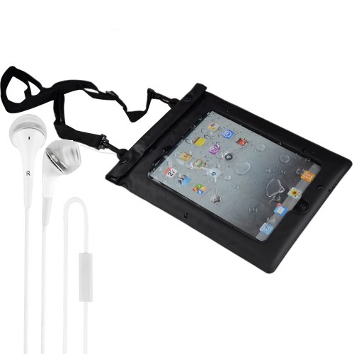 Universal Waterproof Sport Case With Headphone Jack For All Ipads, Tablet Pcs And Ereaders - Black + Vangoddy Headphone With Mic ,White