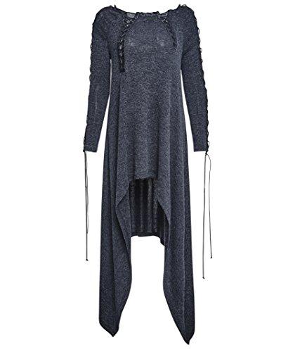 PQ-132 Street Irregular Pullover Round Neck Long Sleeve Dress Elegant Night Party (XL)