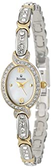 Bulova Womens 98L005 Crystal Accented Mother Of Pearl Dial Watch