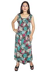 Indiatrendzs Women Dresses Rayon Green Black Floral Print Casual Midi Dress