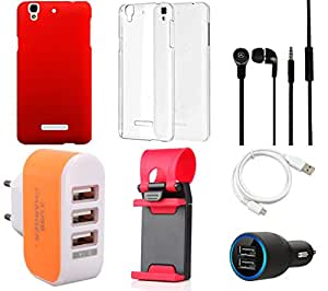 NIROSHA Cover Case Car Charger Headphone USB Cable Mobile Holder Charger car Combo for YU Yureka Combo
