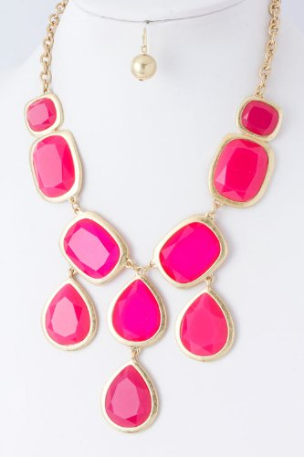 Charmed by Stacy Italia Couture Bib Necklace (Hot Pink)