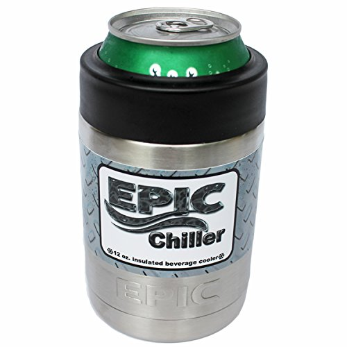 EPIC 12 oz Beer Can Cooler - Double Wall Vacuum Insulated Beverage Colster Can holder - Keeps drinks cold-Made with the Highiest Quality of Stainless Steel - Heavier than most Brands (Can Holder Cooler compare prices)