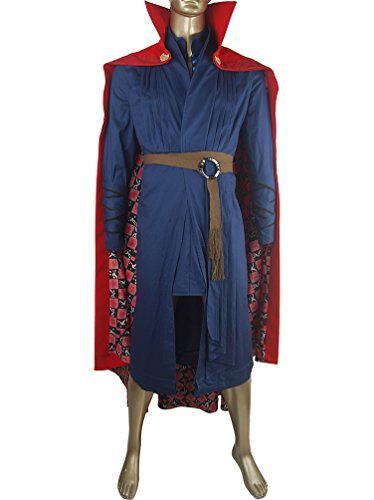[XYZcos Men's Doctor Strange Outfit Uniform Cape Halloween Costume Size L] (Dr Strange Modern Costume)
