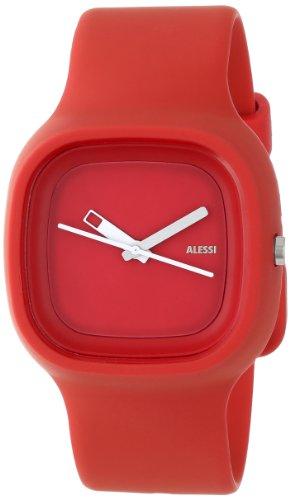 Alessi AL10016 - Reloj analógico automático unisex, correa de plástico color rojo