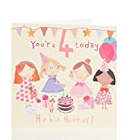 Age 4 Tea Party Birthday Card