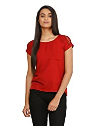 Mayra Women's Crepe Top (1604T08346_L, Red,)