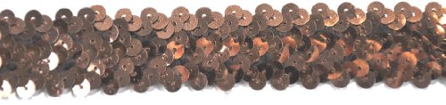 Belagio BK-302-06 Elastic Sequin Trimming, 25mm, Brown, 10 yard/roll