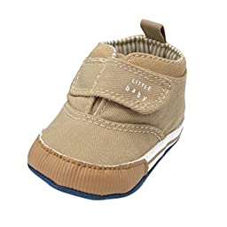 Weixinbuy Baby Boy\'s Canvas Soft Sole Velcro Sneaker High Shoe Khaki M