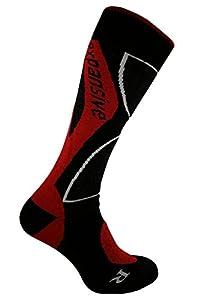 eXPANSIVE PROFESSIONAL SHAPED MERINO WOOL SNOWBOARD SOCKS RED [363-01] UK 2.5-5 (EUR 35-38)