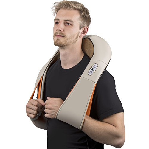 Neck And Shoulder Massager Shiatsu & Back with Heating Option, Relief And Relaxing, Comfy Arm Straps, Eliminate Muscle Soreness & Back Pain - Foot- Adopter Home, Office, Car Light Brown (Hair Massager Electronic compare prices)