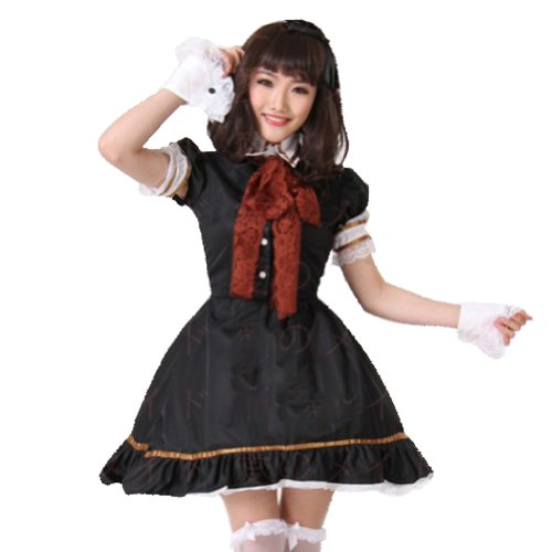 TOMSUIT Japanese Coffee Shop Lolita Maid Costume Lace Dress Set