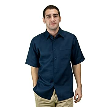 Mens navy blue linen shirt.