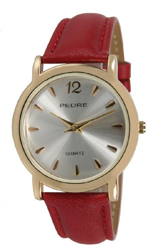 Pedre  Watches best price: Pedre Everyday Women's Gold-Tone Watch with Red Leather Strap # 0496GX-Red