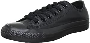 Converse Unisex Chuck Taylor Leather Black Leather Sneaker - 5 Men - 7 Women