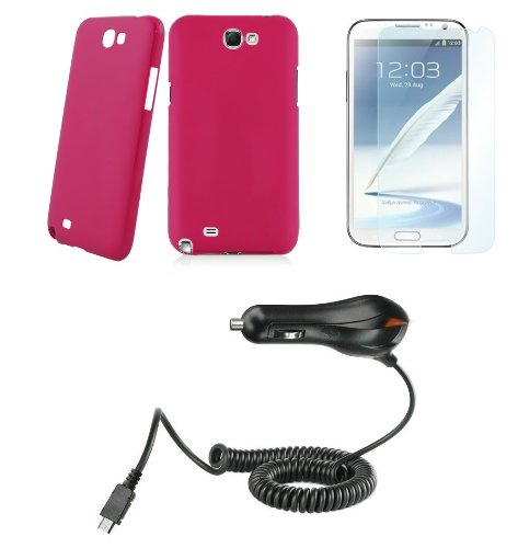Samsung Galaxy Note Ii - Accessory Kit - Magenta Pink Slim Fit Back Cover Case + Atom Led Keychain Light + Screen Protector + Micro Usb Car Charger