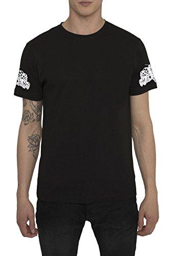 T Shirt Designer Fashion Rock da Uomo Maglietta Nera con Stampa Tattoo SKULL AND BONES Design Graffiti, Maglia di Cotone, Girocollo, Manica Corta, Magliette Moda Urban Cool per Uomo S M L XL XXL