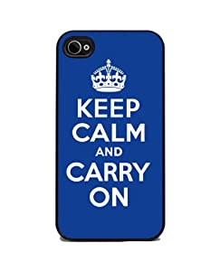 Keep Calm and Carry On - Blue - iPhone 4 or 4s Cover, Cell Phone Case - Black