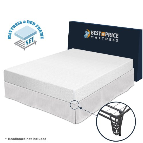 "Best Price Mattress 8"" Memory Foam Mattress + Bed Frame Set - Twin - No Box Spring Needed"