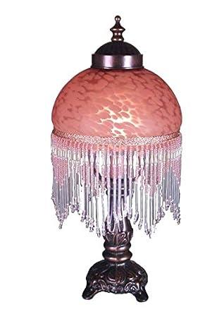 """Meyda Lighting 14966 6"""" Fringed Globe Pink & Base"""