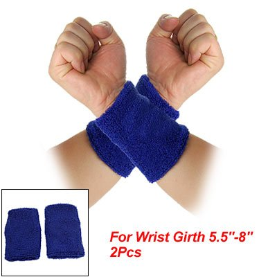 Wolf Embroidery Blue Terry Sports Wristband Support Pair front-959515