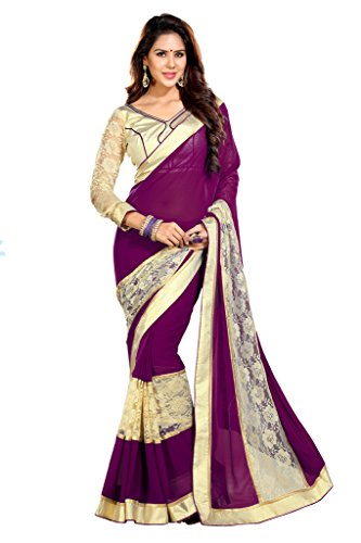 Sourbh Sarees Women's Wine And Beige Net Brasso And Faux Georgette Saree with Unstitched Blouse Piece