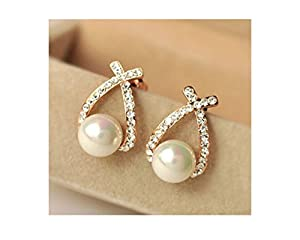 Glitz Fashion Gold Plated Must Have Pearl Stud Earrings for Women