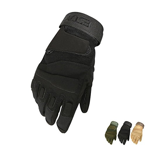 Military Gloves, Skque® Military Full Finger Tactical Gloves, Black Extra Large