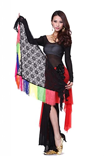 Feimei Women's Belly Dance Lace Triangle Tassels Hip Scarf