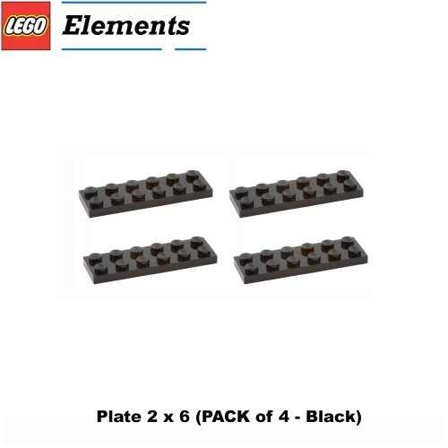 Lego Parts: Plate 2 X 6 (Pack Of 4 - Black)