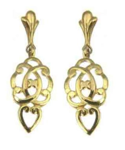 Ladies' Celtic Heart Drop Earrings, 9ct Yellow Gold, Model 9-ER023