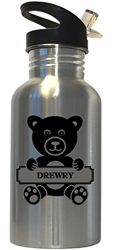 drewry-surname-bear-stainless-steel-water-bottle-straw-top