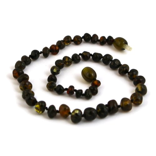 "Hazelaid (TM) 14"" Baltic Amber Dark Green Necklace - 1"