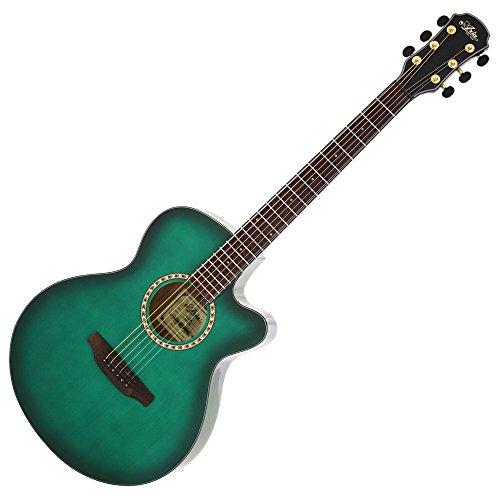 ARIA アリア アコースティックギター サイドバックタイガーウッド仕様 シースルーグリーン TG-1      SGR