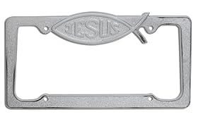 OxGordu00ae Jesus Fish Metal License Plate Frame, 1pc